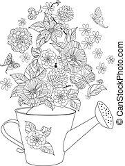 arrosage, agréable, arrangement, boîte, page, fleurs, coloration, ton