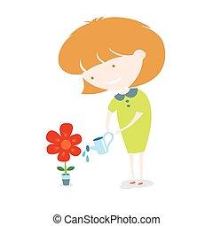arrosage, flower., girl