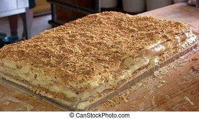 arrosage, gâteau, à, crumbs.