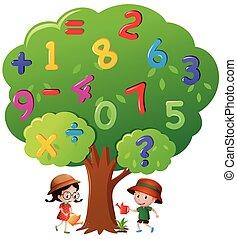 arrosage, gosses, arbre, nombres