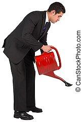 arrosage, homme affaires, rouges, boîte