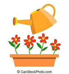 arrosage, isolé, illustration, boîte, vector., fleurs, dessin animé
