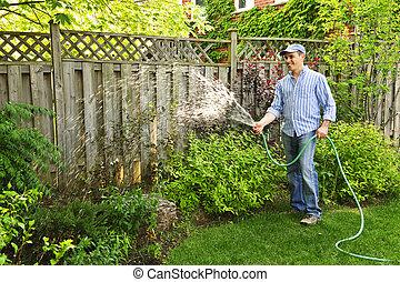 arrosage, jardin, homme