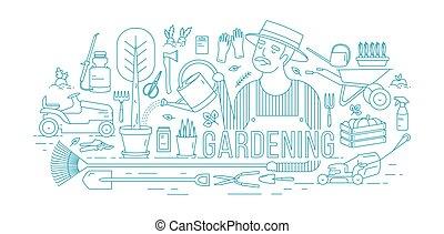 arrosage, jardinage, arbre, pot, équipement, agricole, style., bleu, outils, entouré, contour, arrière-plan., dessiné, blanc, jardinier, jardin, illustration, usines, lignes, vecteur, croissant, lineart