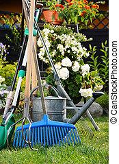 arrosage, outils, jardin, boîte
