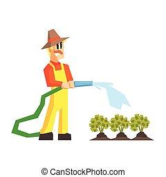 arrosage, tuyau, jardin, lit, homme