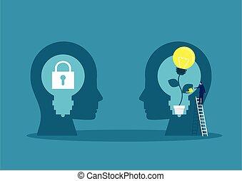 arrosage, vecteur, usines, mindset, cerveau, croissance, grand, concept, homme affaires