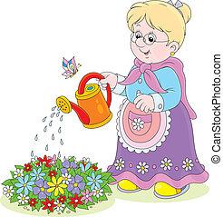 arroser fleurs, grand-maman