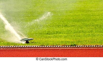 arroseuse, fonctionnement, arrosage, sports, jet eau, field., fort, appareils arrosage