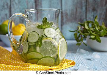 arrosez verre, fruit, cruche