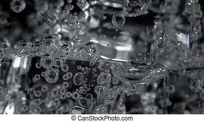 arrosez verre, métrage, bulles