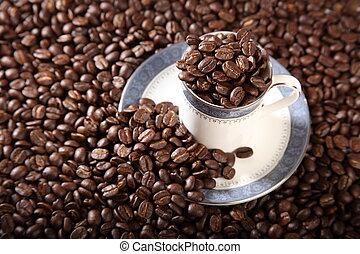 arrostito, caffè, pieno, fagioli, tazza