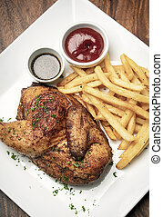 arrosto, pasto, semplice, francese, pollo, frigge, mezzo, ...