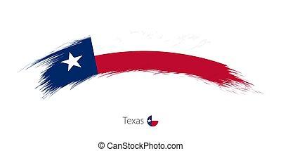 arrotondato, bandiera, spazzola, grunge, texas, stroke.