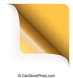 arrotondato, cima, -, giallo, carta, angolo