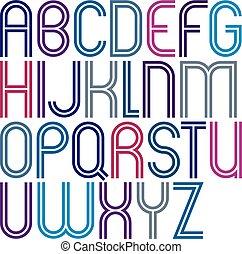 arrotondato, colorito, doppio, linee, lettere, giocondo,...