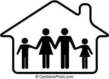 arrotondato, famiglia, casa, sicuro, genitori, casa, bambini