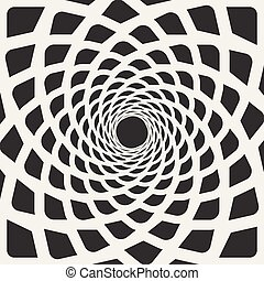 arrotondato, linee, spirale, forma, vettore, nero, bianco, illusione, ottico