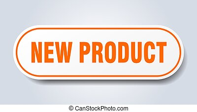 arrotondato, prodotto, arancia, nuovo, segno., sticker.