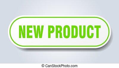 arrotondato, prodotto, nuovo, segno., verde, sticker.