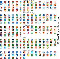 arrotondato, quadrato, vettore, bandiera nazionale, icone