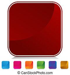 arrotondato, quadrato, web, bottone