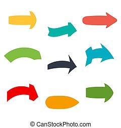 Arrow-26 - Set of nine multicolored various arrows. Vector...