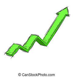 arrow., 3d, illustration, uptrend
