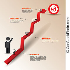 Arrow 3d to success - Vector business concepts with icons /...