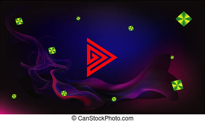 Arrow and abstract play button on tricolor background