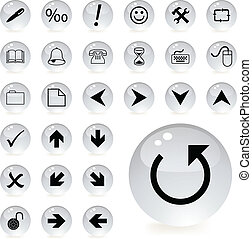 arrow and directional icons in grey color
