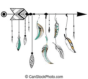 Arrow and feather for Tribal boho style - Tribal boho style...