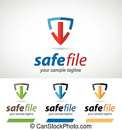 Arrow and Shield Safe Download Logo Icon Vector Illustration