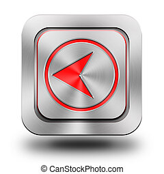 Arrow back aluminum glossy icon, button, sign