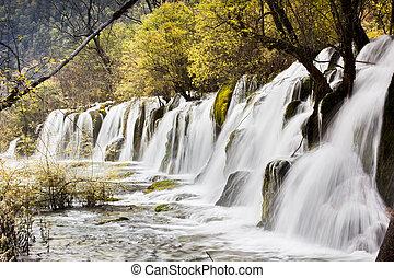 Arrow bamboo waterfall jiuzhaigou scenic