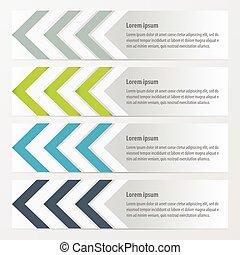 Arrow Banner Design Green, blue, gray color