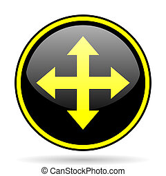 arrow black and yellow glossy internet icon
