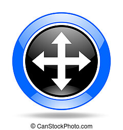 arrow blue and black web glossy round icon