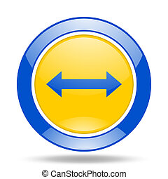 arrow blue and yellow web glossy round icon