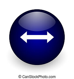 Arrow blue glossy ball web icon on white background. Round 3d render button.