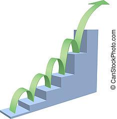 Arrow bounces up business chart
