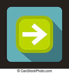 Arrow button icon, flat style