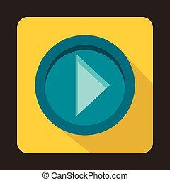 Arrow button on yellow background icon, flat style
