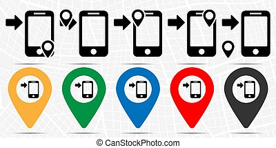 Arrow button phone icon in location set. Simple glyph, flat illustration element of technology theme icons