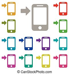 Arrow button phone icon in multi color. Simple glyph vector of Technology set for UI and UX, website or mobile application