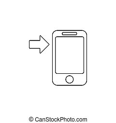 Arrow button phone icon. Simple outline vector of technology set for UI and UX, website or mobile application