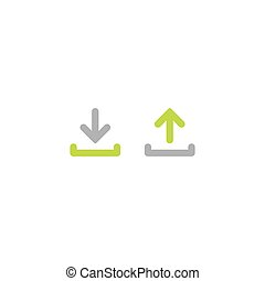 Arrow button set. Green and grey rounded arrow up and down. flat icons isolated on white.