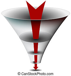 Arrow Chamber Funnel Chart - An image of am arrow passing...