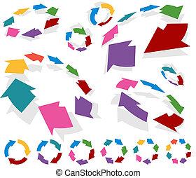 Arrow Circle Charts - Circular arrow graph set isolated on a...