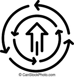 Arrow circle flow icon. Outline arrow circle flow vector icon for web design isolated on white background